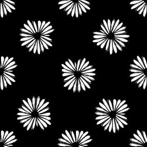 daisy fabric // dots florals 90s girls flower fabric - black