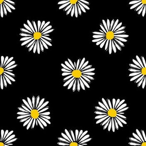 daisy fabric // dots florals 90s girls flower fabric - black and yellow