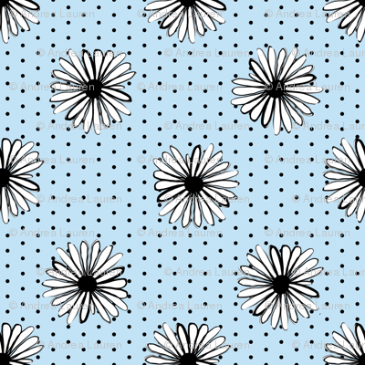 daisy fabric // dots florals 90s girls flower fabric - powder blue