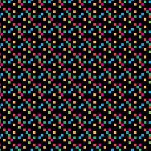 multi-color pixels on black