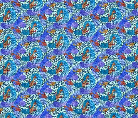 Koi Pond - Dark Blue fabric by denise_ortakales on Spoonflower - custom fabric
