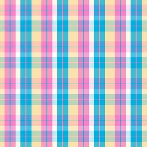pink teal plaid five