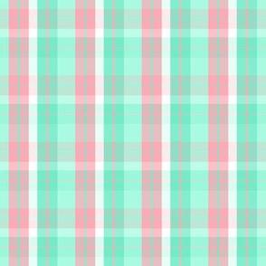 pink aqua green plaid seven