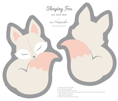 Cut and sew your own Sleeping Fox fabric by ewa_brzozowska on Spoonflower - custom fabric