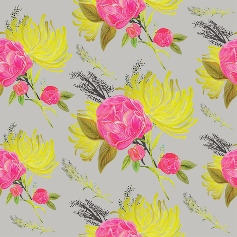 02_Catfly_Florals_Grey fabric by victoriaweiss on Spoonflower - custom fabric