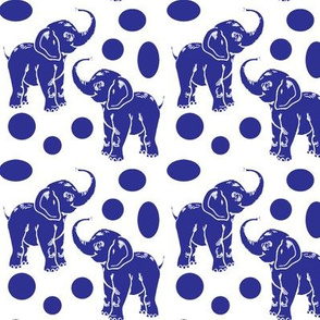Small baby elephants in royal blue on white