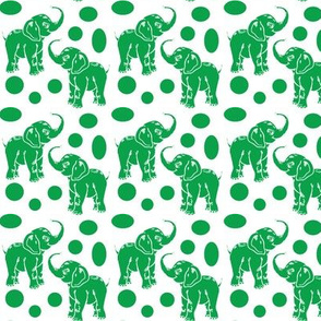 Small Baby Elephants in kelly green on white