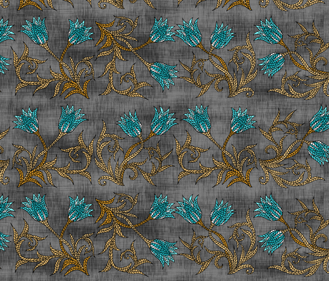 Tulip Mosaic on Gunmetal fabric by pond_ripple on Spoonflower - custom fabric