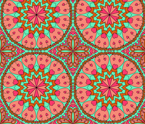 Coral Turquoise Heart Mandala Black Outlines fabric by coveredbydesign on Spoonflower - custom fabric