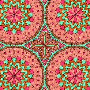 Coral Heart Mandala with Black Outlines