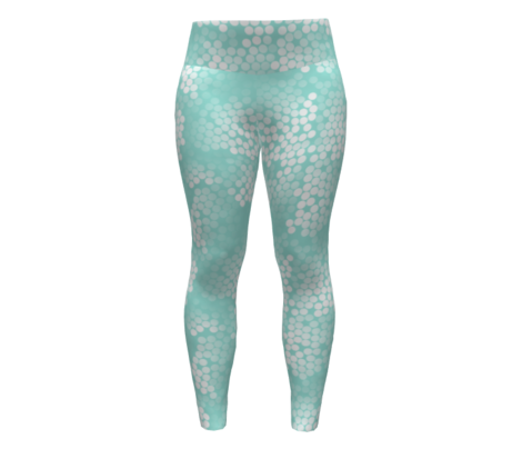 Microscopic Mermaid Scales Mint and White / White dots on Pale Turquoise