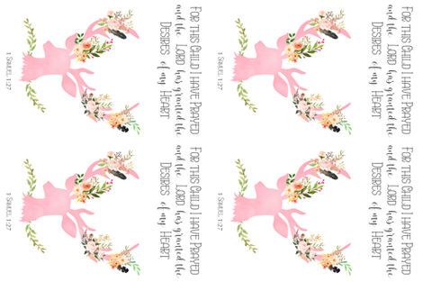 Pink Floral Deer / FOR MINKY / with Quote For this Child I Have Prayed fabric by shopcabin on Spoonflower - custom fabric