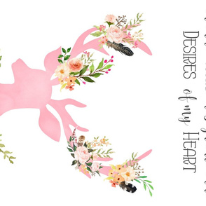 Pink Floral Deer / FOR MINKY / with Quote For this Child I Have Prayed