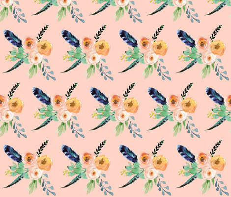 "10.5"" Mix & Match Peach Mermaid Floral / Peach Background fabric by shopcabin on Spoonflower - custom fabric"
