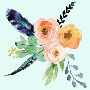"""10.5"""" Mix & Match Peach Mermaid Floral / AQUA"""