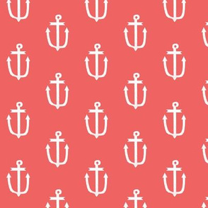anchor fabric coral nautical fabric design - coral