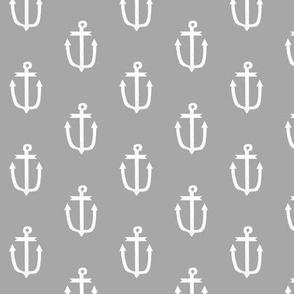 anchor fabric coral nautical fabric design - grey