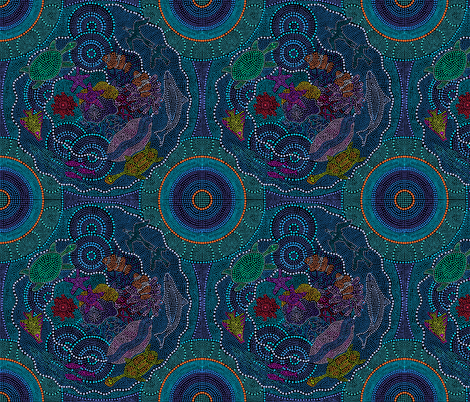 Dreaming the Great Barrier Reef on Black fabric by elramsay on Spoonflower - custom fabric