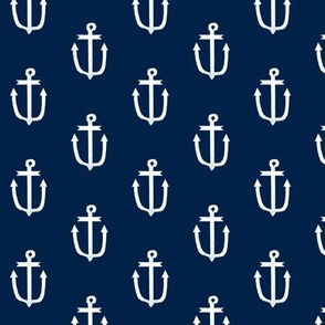 anchor fabric coral nautical fabric design - navy