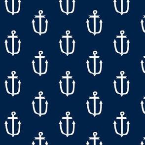 anchor fabric coral nautical fabric design - navy