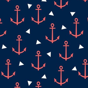anchor fabric coral nautical fabric design - coral and navy triangles