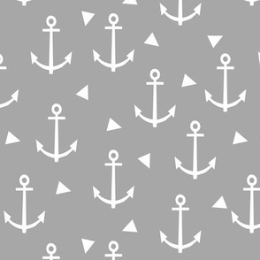 anchor fabric coral nautical fabric design - grey triangles