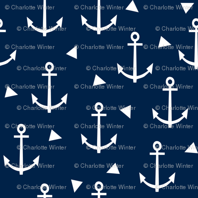 anchor fabric coral nautical fabric design - navy triangles