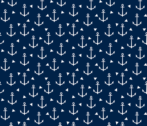 anchor fabric coral nautical fabric design - navy triangles fabric by charlottewinter on Spoonflower - custom fabric