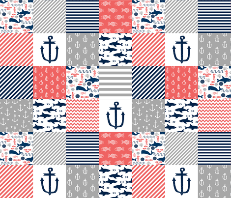 Cheater quilt nursery baby nautical coral and navy cheater for Nautical nursery fabric