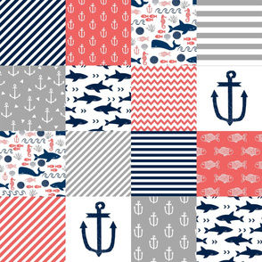 cheater quilt nursery baby nautical coral and navy cheater quilt