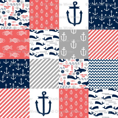 Anchor Nautical Cheater Quilt Coral Navy And Grey Cheater