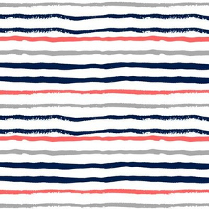painted stripes coral, navy and grey stripe fabric interior design nautical preppy style