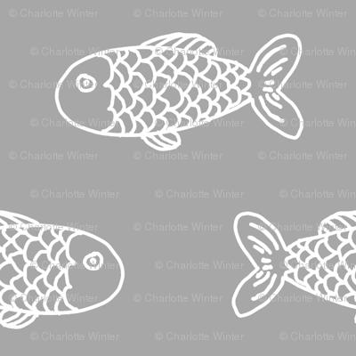 grey fish fabric nautical summer fabric baby nursery design