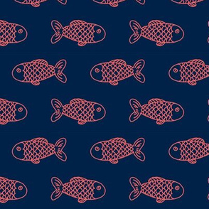 coral and navy fish fabric nautical fabric design