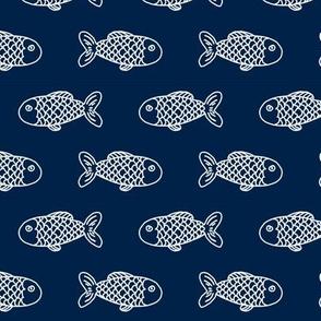 navy fish fabric nautical summer fishing fabric boys men fabric