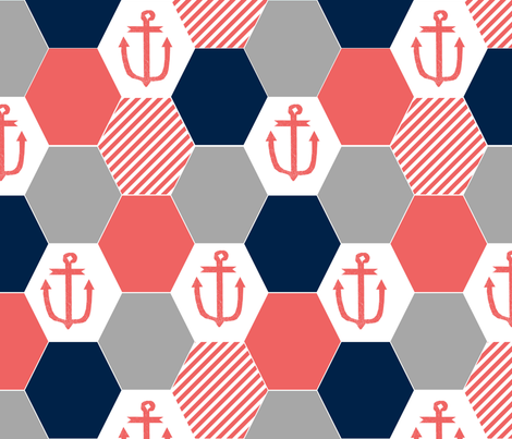 anchor cheater quilt hexagon cheater quilt hexie quilt coral and navy nautical theme fabric by charlottewinter on Spoonflower - custom fabric