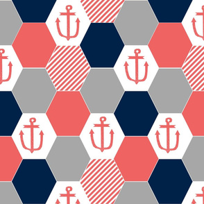 anchor cheater quilt hexagon cheater quilt hexie quilt coral and navy nautical theme