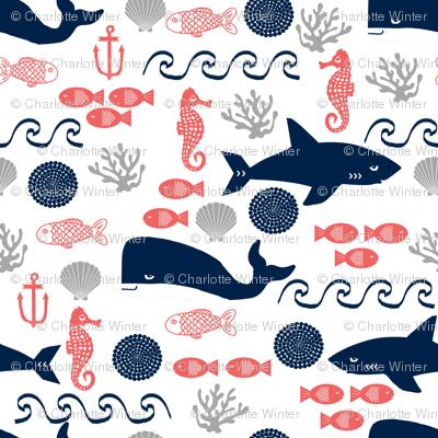 ocean animals fabric sharks whales fabric nursery baby