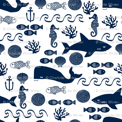 navy ocean fabric nautical summer navy and white fabric