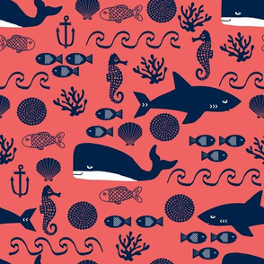 coral and navy ocean animals fabric nursery baby design