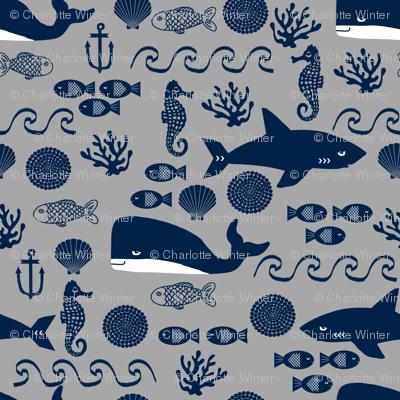 navy and grey ocean animals fabric nursery nautical design