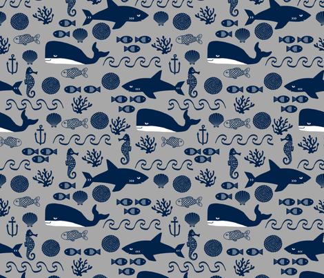 navy and grey ocean animals fabric nursery nautical design fabric by charlottewinter on Spoonflower - custom fabric