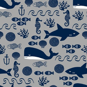 navy and grey ocean animals fabric nursery nautical design