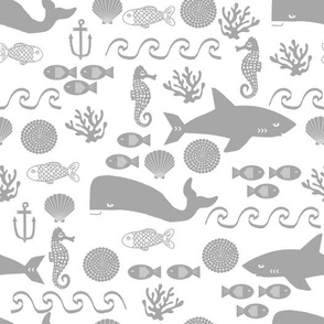 grey ocean animals fabric nursery nautical design