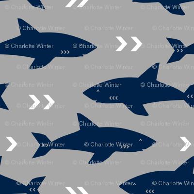 grey and navy shark fabric sharks fabric nautical baby nursery