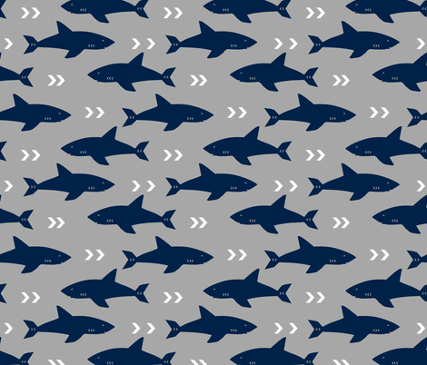 Grey and navy shark fabric sharks fabric nautical baby for Nautical nursery fabric