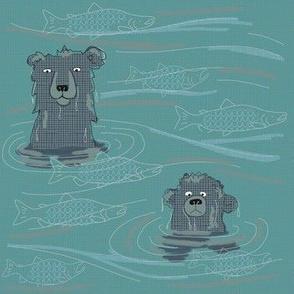 bear contemplates salmon 1