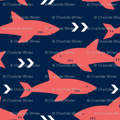 coral and navy shark fabric sharks fabric nautical baby nursery