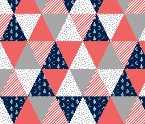 Triangle cheater quilt nautical nursery theme fabric for Nautical nursery fabric