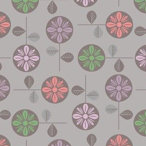 Scandi mod flowers on gray